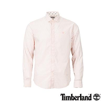 Timberland 男款淡粉色織修身格紋彈力襯衫|A1WPG