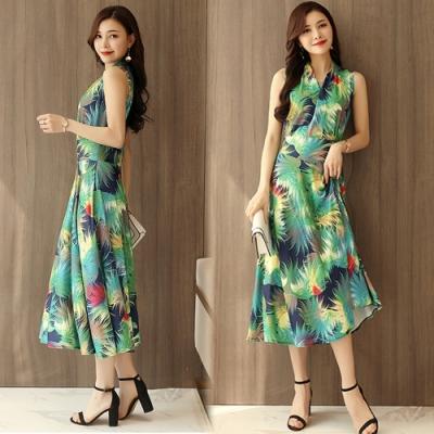 【韓國K.W.】(預購) 海島假期清涼印花洋裝