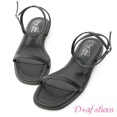D+AF 純真美感.簡約一字繫踝平底涼鞋*黑