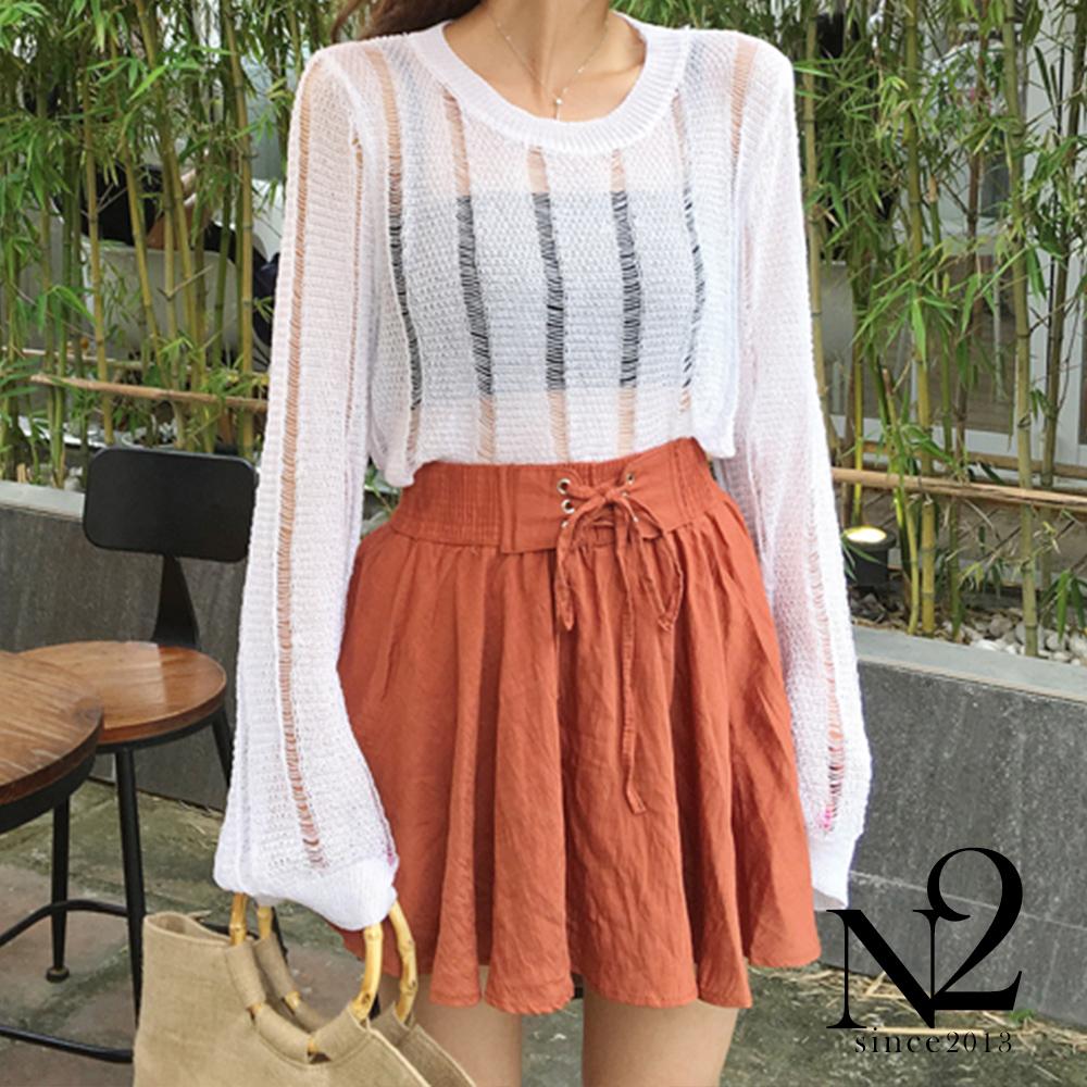 褲子 前绑帶繫鬆緊收腰傘狀褲裙(橘紅) N2