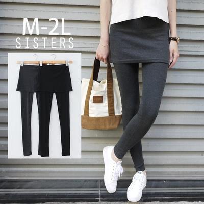 SISTERS 抗溫差顯瘦單品!假兩件短裙內搭褲/M-2L二色