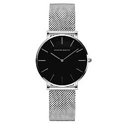 HANNAH MARTIN 經典極簡米蘭帶腕錶黑面-銀x36mm HM-CH36-WYY