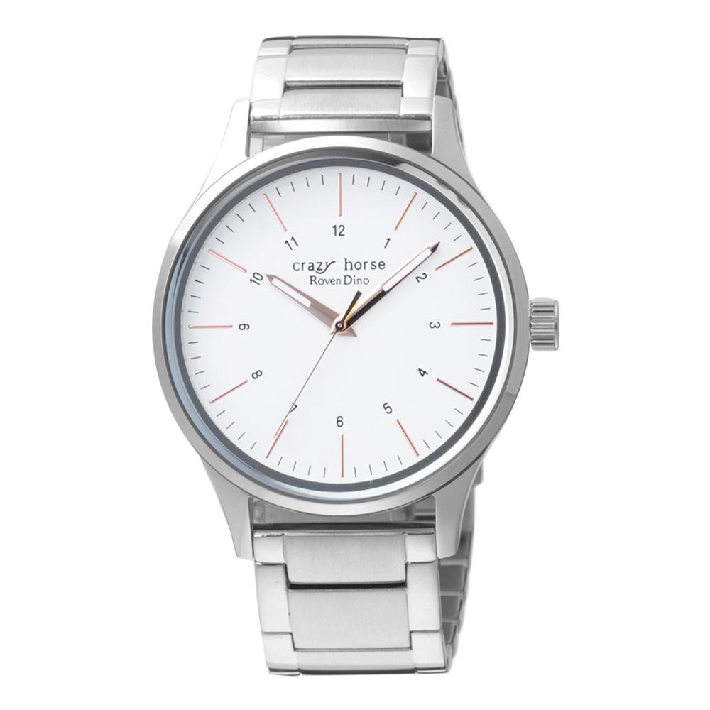 Roven Dino羅梵迪諾 時空騎士時尚腕錶-銀X白(RD1313-176W)/40mm