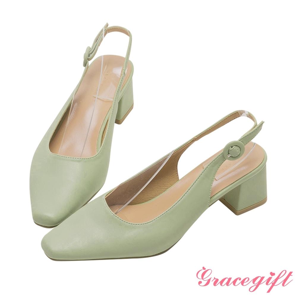 Grace gift-素面繫帶後空中跟鞋 綠