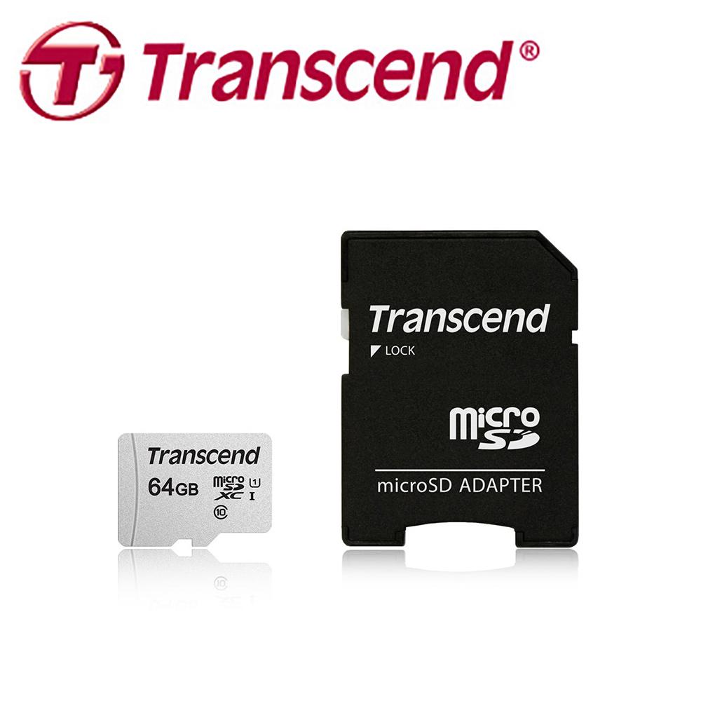 創見 64GB 300S microSDXC UHS-I U1 記憶卡(附轉卡)