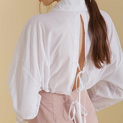 AIR SPACE LADY 背鏤空綁帶落肩襯衫(白)