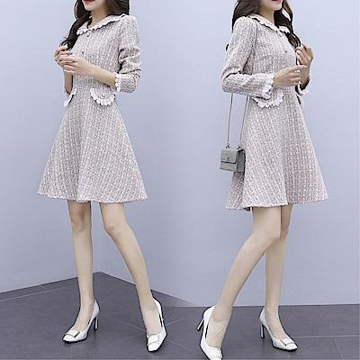 DABI 韓國風小香風毛呢格紋高腰修身長袖洋裝