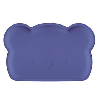新加坡bopomofo 小熊矽膠餐盤-深夜藍