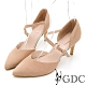 GDC-俏麗佳人羊皮設計感繞帶中空尖頭涼跟鞋-裸色 product thumbnail 1