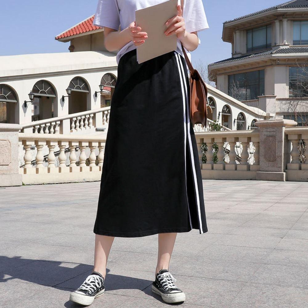 La Belleza鬆緊腰側開叉側滾邊雙白色條紋棉質長裙