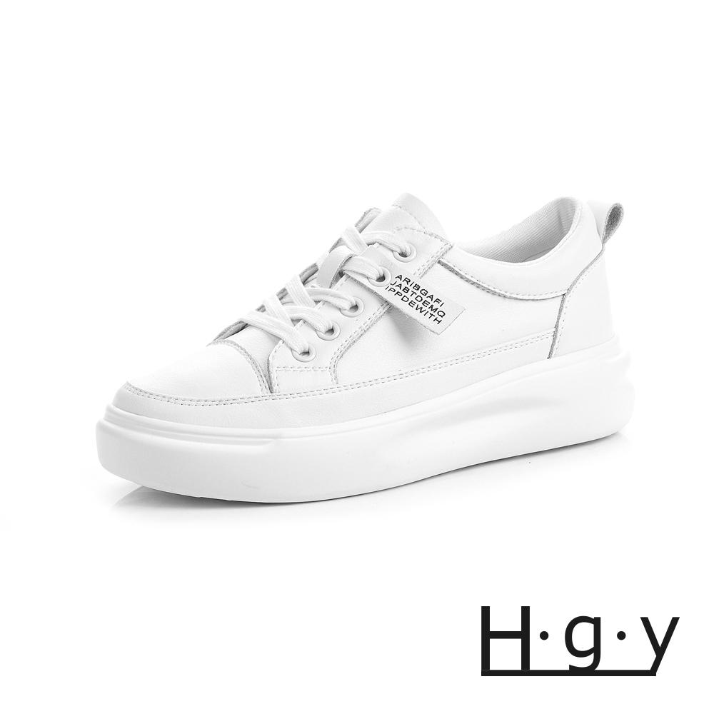 HGY-正韓-增高鞋真皮鞋織帶款小白鞋-增高4公分-白