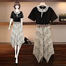 時尚豹紋領T恤+豹紋不規則長裙二件套XL-5XL-KVOLL