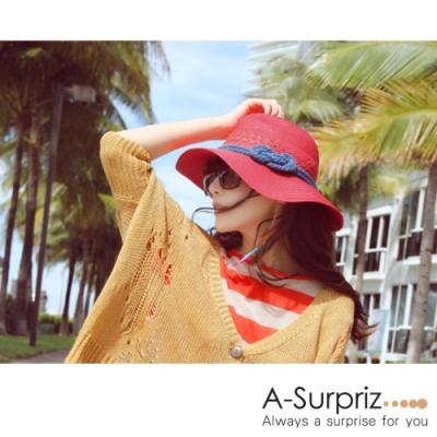 A-Surpriz 簡約繩結遮陽帽(紅)