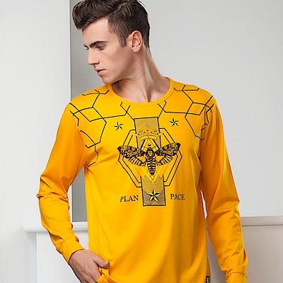 歐洲貴族oillio 長袖T恤 飛蛾印花 特色菱格紋 黃色