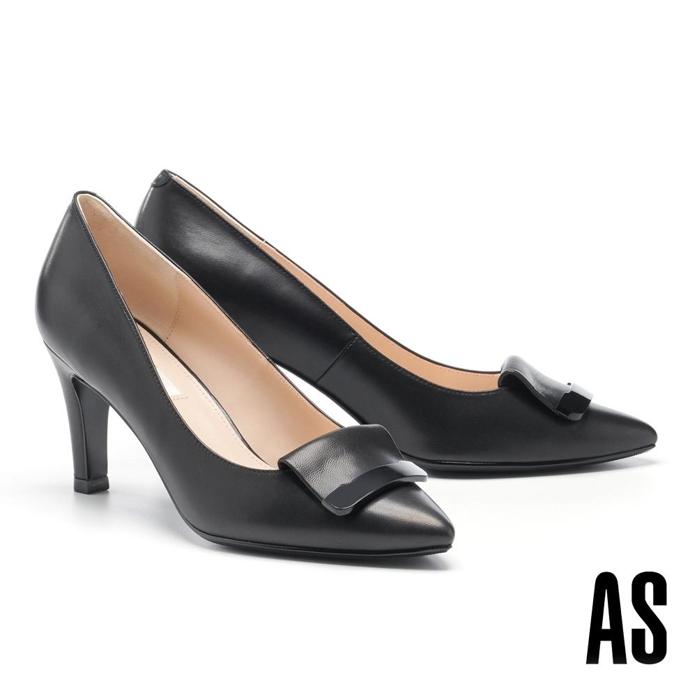 高跟鞋 AS 鏡面烤漆反折帶釦羊皮尖頭高跟鞋-黑