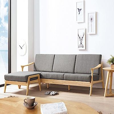 AS-凱恩灰布原木L型沙發椅組