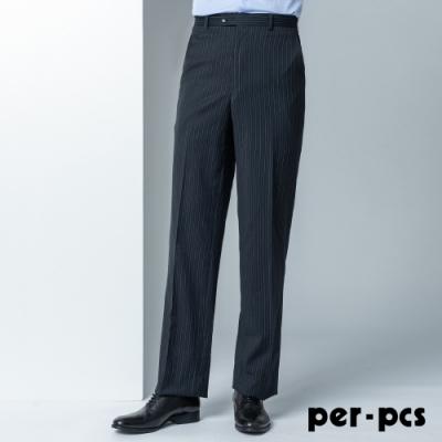 per-pcs 時尚質男條紋西裝褲_黑(806121)