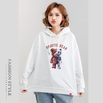 2F韓衣-連帽個性小熊精梳棉印花上衣-5色(M-2XL)