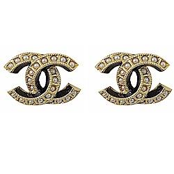 CHANEL 經典雙C LOGO小珍珠裝飾耳環(香檳金)