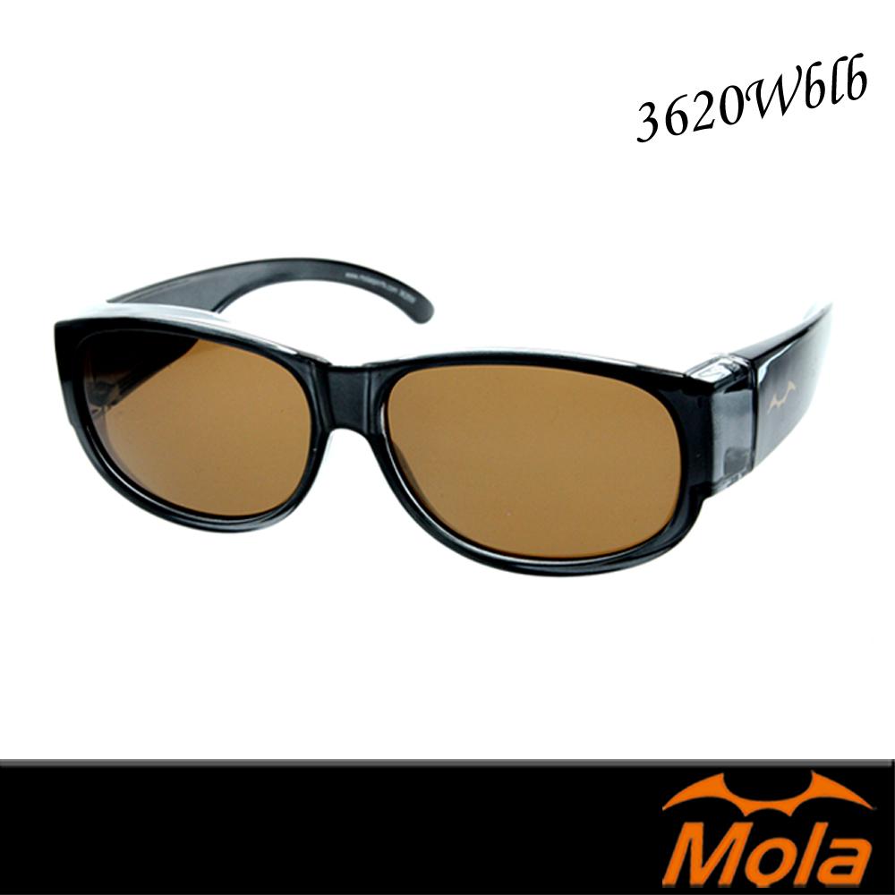 MOLA 摩拉外掛式偏光太陽眼鏡套鏡 男女 UV400 近視老花可戴-3620Wblb