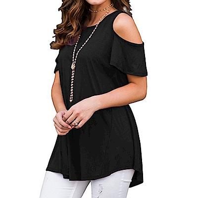 La Belleza素色圓領露肩T恤
