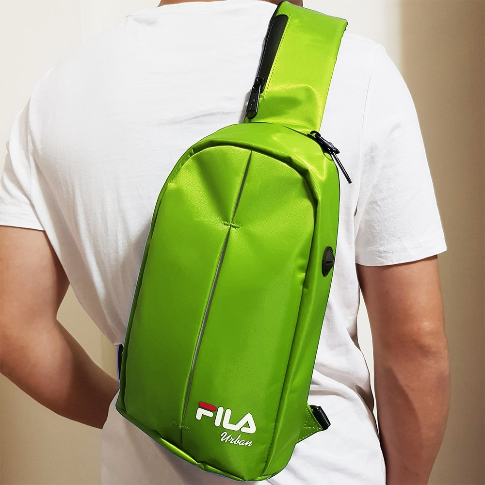 FILA 時尚單肩斜包 斜背包 休閒旅遊-螢光綠