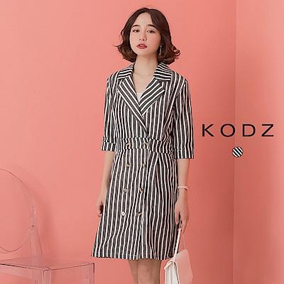 東京著衣-KODZ  氣勢滿分翻領拼接條紋縮腰洋裝-S.M.L