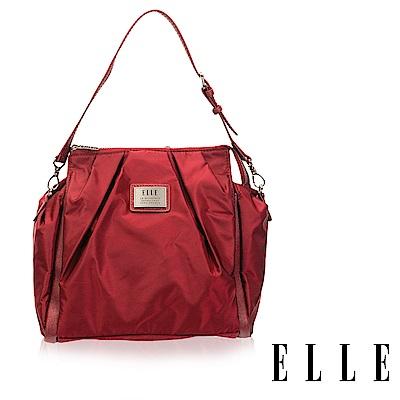 ELLE 法式淑媛海軍風拉鍊式設計款肩背/側背/可拆式後背包(大)-素色紅