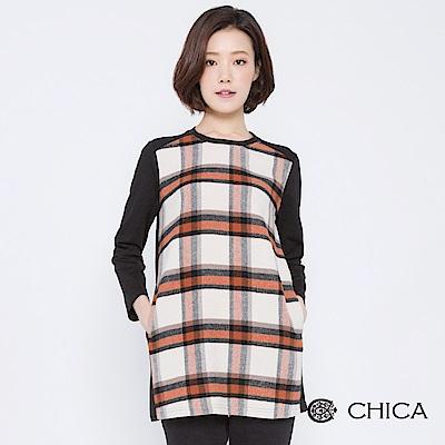 CHICA 走訪巴黎拼接格紋長版上衣(2色)