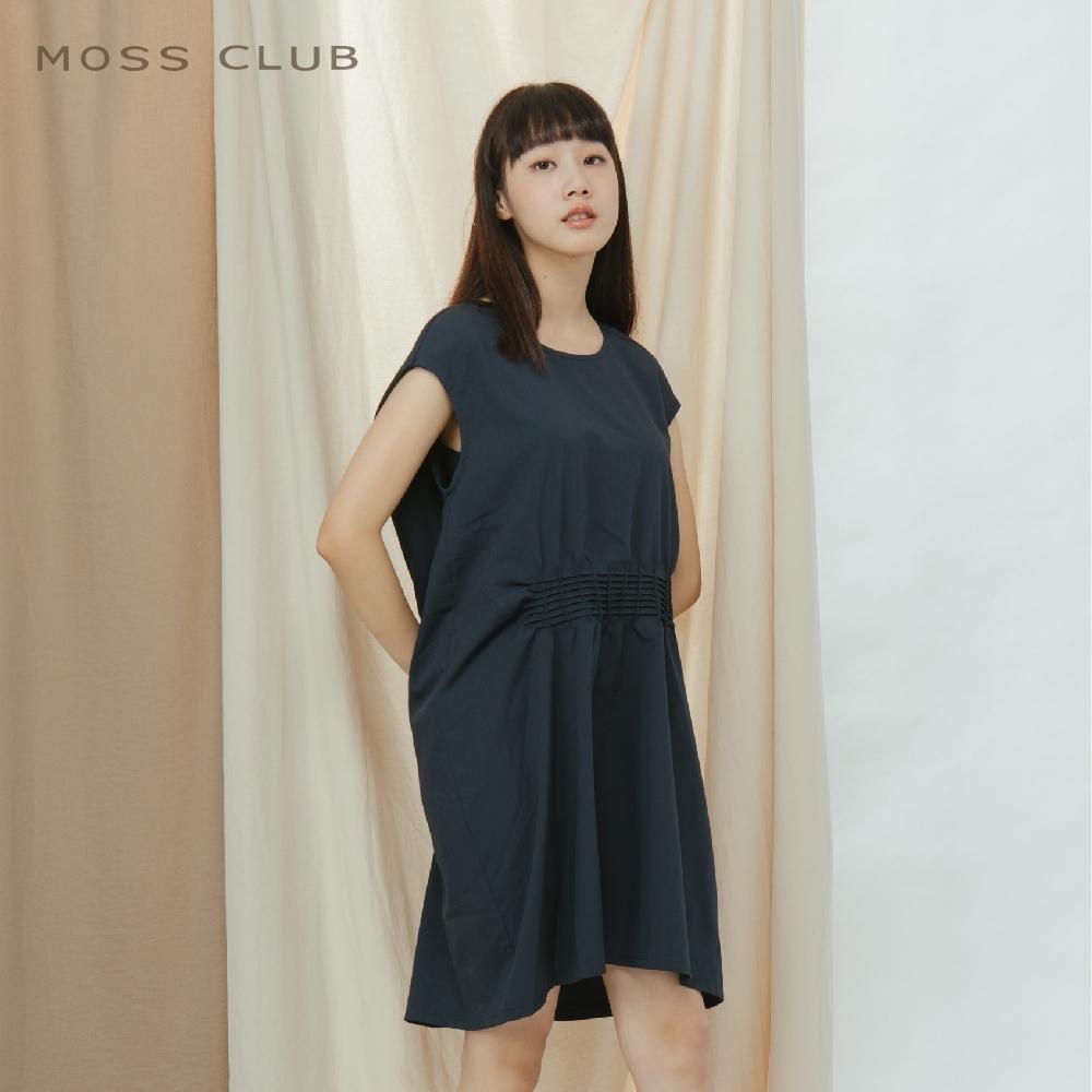 【MOSS CLUB】日系造型削肩抓褶素色-連身裙(二色)