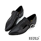 HERLS 時髦典範 全真皮鏤空圓釦尖頭樂福鞋-黑色