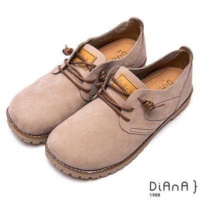DIANA 漫步雲端厚切焦糖美人款-玩味厚底綁帶真皮休閒鞋-淺灰