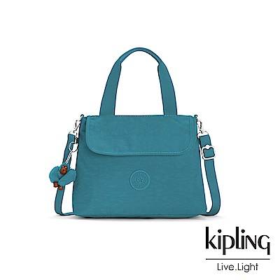 Kipling 靜謐藍綠色素面前翻蓋手提側背包-ENORA
