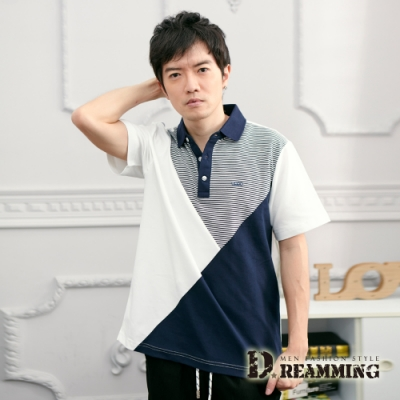 Dreamming 條紋拼接速乾液鈦涼感紗短POLO衫-共二色