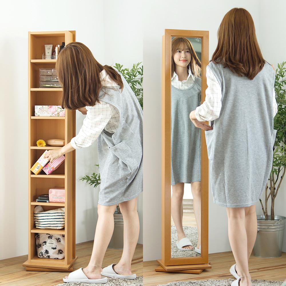 完美主義 全身鏡/收納櫃/旋轉(2色)-30X30X156cm