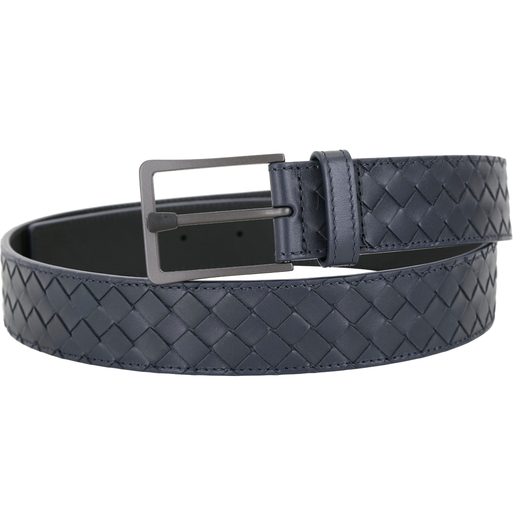 BOTTEGA VENETA 35mm 霧黑銀釦環小牛皮編織腰帶(黑夜藍)