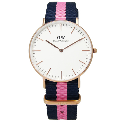DW Daniel Wellington 溫徹斯尼龍腕錶-白x玫瑰金框x藍粉/36mm