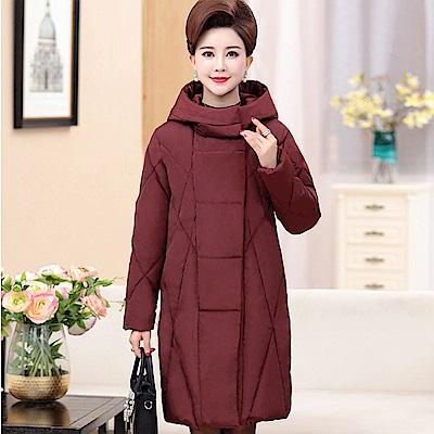 休閒立領羽絨綿長版外套-XL~5XL(共四色)-理子時尚