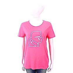 Karl Lagerfeld Lightning 粉紅色老佛爺側臉肖像短袖T恤