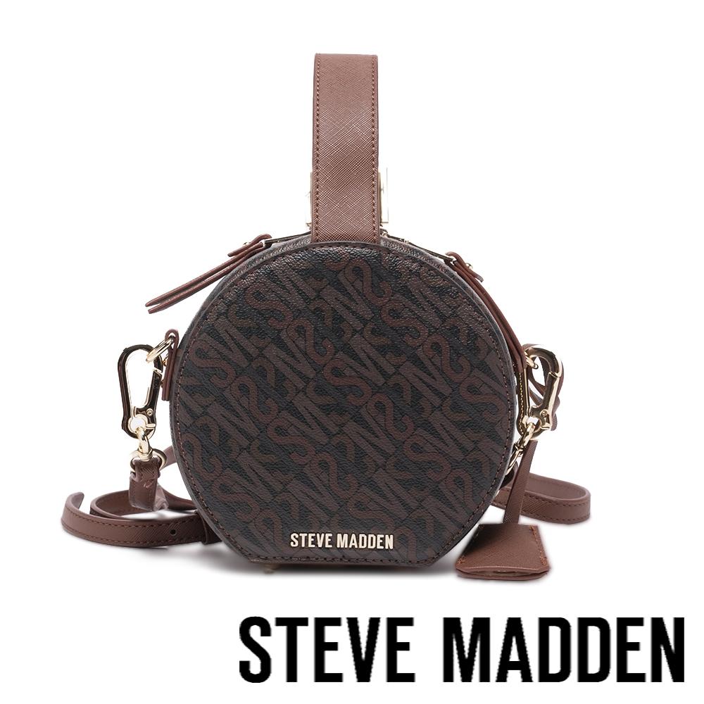 STEVE MADDEN-BJANEL-L 復古斜背手提圓餅包-咖啡色