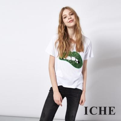 ICHE 衣哲 熱搜時尚嘴唇印花造型T恤上衣 (綠)