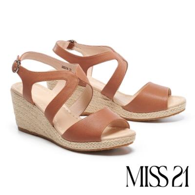 涼鞋 MISS 21 簡約清新流線剪裁草編楔型涼鞋-咖