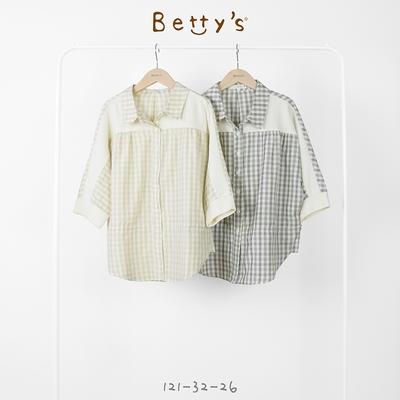 betty's貝蒂思 小格子抽繩蝙蝠袖襯衫(灰黑格)