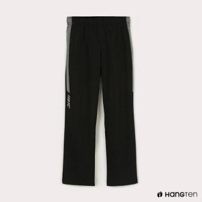 Hang Ten-女童-恆溫多功能-REGULAR FIT標準四向彈力吸濕快乾抗曬撞色運動長褲-黑色