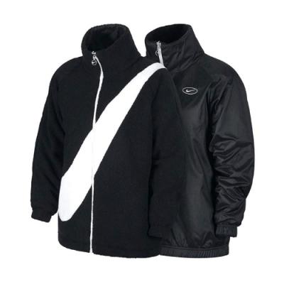 Nike 外套 NSW Swoosh Jacket 女款 大勾勾 雙面穿 羔羊外套 保暖 黑 白 CZ4064010
