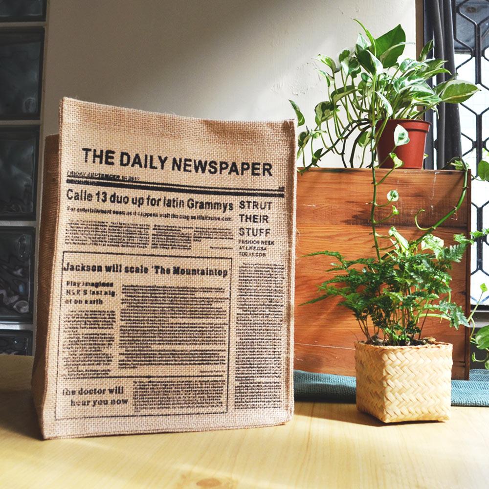 【收納職人】日式雜貨風黃麻收納整理籃/無蓋儲物盒 (英文報紙款)