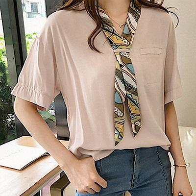 初色  拼接領巾短袖襯衫-共2色-(M-2XL可選)