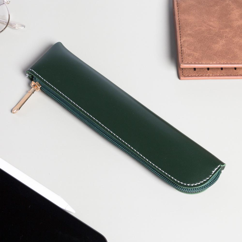 Apple Pencil 拉鍊收納袋 皮革收納包 筆套保護套 墨綠色