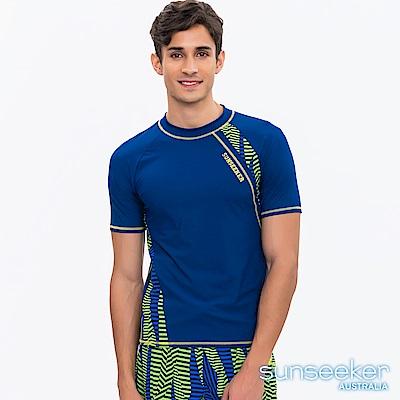 澳洲Sunseeker泳裝男士時尚條紋短袖衝浪泳衣上衣-藍