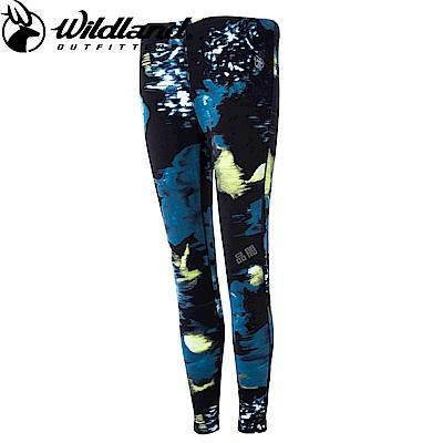 【Wildland 荒野】女彈性時尚保暖內搭褲印花藍